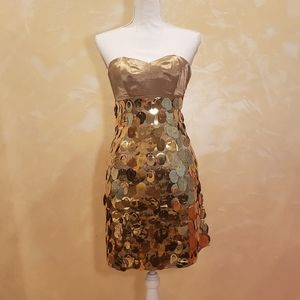 NWT Express Gold Chainmail Strapless Mini Dress
